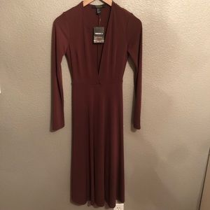 Brown midi dress.